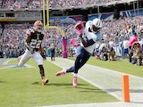 Kendall Wright #13 of the Tennessee Titans catches a pass for a touchdown during the game against the Cleveland Browns at LP Field on October 5, 2014