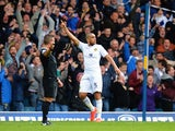 Giuseppe Bellusci of Leeds United celebrates scoring during the Sky Bet Championship match between Leeds United and Sheffield Wednesday at Elland Road on October 4, 2014