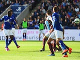 Jeffrey Schlupp of Leicester City scores their first goal during the Barclays Premier League match between Leicester City and Burnley at The King Power Stadium on October 4, 2014