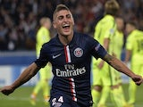 Paris' Italian midfielder Marco Verratti celebrates after scoring a goal during the UEFA Champions League football match Paris Saint-Germain (PSG) vs Barcelona (FCB) on September 30, 2014