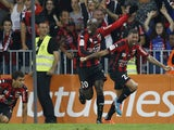 Nice's French midfielder Lloyd Palun celebrates after scoring a goal during the French L1 football match Nice (OGC Nice) vs Montpellier (MHSC) on October 4, 2014
