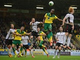 Cameron Jerome of Norwich heads the ball during the Sky Bet Championship match between Nowrwich City and Rotherham United at Carrow Road on October 4, 2014
