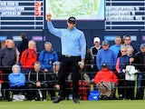 Oliver Wilson of England reacts after holing a birdie putt on thre 18th green during the first round of the 2014 Alfred Dunhill Links Championship at the Championship Links at Carnoustie on October 2, 2014