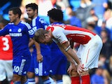 A dejected Per Mertesacker of Arsenal after defeat during the Barclays Premier League match between Chelsea and Arsenal at Stamford Bridge on October 4, 2014