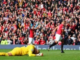 Radamel Falcao of Manchester United celebrates scoring his team's second goal during the Barclays Premier League match against Everton at Old Trafford on October 5, 2014