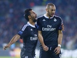 Real Madrid's French forward Karim Benzema celebrates with Real Madrid's defender Alvaro Arbeloa after scoring a goal during the UEFA Champions League Group B football match between Ludogorets Razgrad and Real Madrid at the Vassil Levski stadium in Sofia