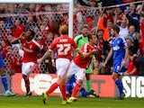 Robert Tesche of Nottingham Forest celebrates scoring their first goal during the Sky Bet Championship match between Nottingham Forest and Ipswich Town on October 5, 2014