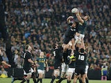 South African prop Jannie du Plessis reaches for the ball during a line out during the final phase of the Four Nations tournament rugby union match between South Africa and new Zealand at Ellis Park Stadium in Johannesburg on October 4, 2014