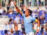 Lazio's midfielder Stefano Mauri celebrates after scoring against during the Italian Serie A football match Lazio vs Sassuolo on October 5, 2014