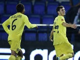 Villarreal's midfielder Javier Espinosa celebrates his goal during the Europa League football match Villarreal CF v Apollon Limassol FC at the El Madrigal stadium in Villareal on October 2, 2014