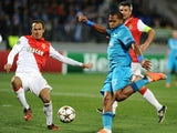 Zenit St Petersburg's Jose Rondon vies with Monaco's Ricardo Carvalho during their UEFA Champions league group C football match in Saint Petersburg on October 1, 2014