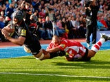 Alistair Hargreaves of Saracens scores a try during the Aviva Premiership match between Saracens and Gloucester at Allianz Park on October 11, 2014