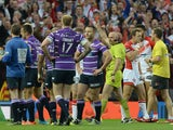 Refeere Phil Bentham sending off Ben Flower of Wigan Warriors during the First Utility Super League Grand Final between St Helens and Wigan Warriors at Old Trafford on October 11, 2014