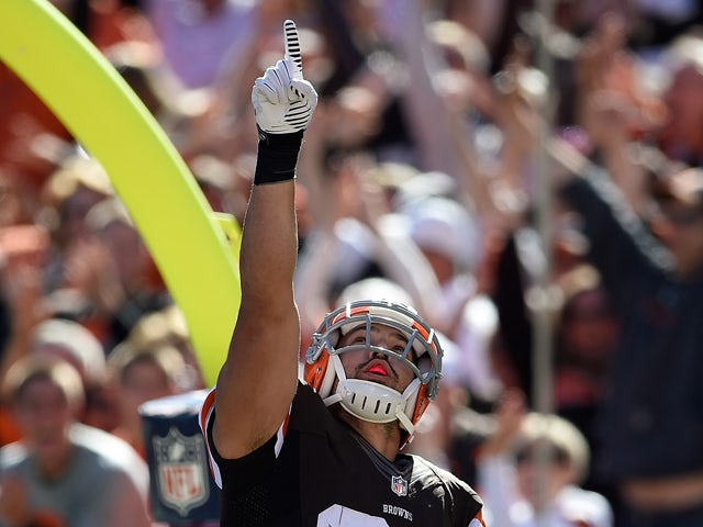 Jordan Cameron #84 of the Cleveland Browns celebrates his touchdown during the second quarter against the Pittsburgh Steelers at FirstEnergy Stadium on October 12, 2014