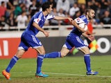 Cyprus' Konstantinos Makridis celebrates scoring against Israel during their Euro 2016 qualifying football match at the GSP Stadium in Nicosia on October 10, 2014