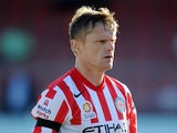 Damien Duff of Melbourne City looks on during the Pre Season Friendly match between Bolton Wanderers XI and Melbourne City at the County Ground on July 23, 2014