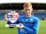 Chesterfield striker Eoin Doyle with his Player of the Month award on October 9, 2014