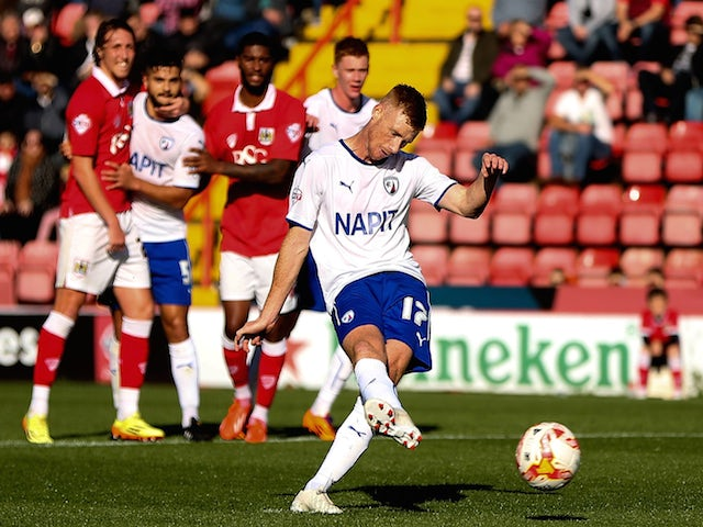 Eoin Doyle of Chesterfield scores his team's first goal of the game during the Sky Bet League One match against Bristol City on October 11, 2014