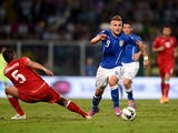 Ciro Immobile of Italy #9 in action during the EURO 2016 Group H Qualifier match between Italy and Azerbaijan at Stadio Renzo Barbera on October 10, 2014