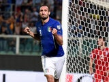 Giorgio Chiellini of Italy #3 celebrates after scoring the opening goal during the EURO 2016 Group H Qualifier match between Italy and Azerbaijan at Stadio Renzo Barbera on October 10, 2014