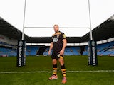 James Haskell of Wasps poses for a picture under the posts during the announcement of a new club sponsor Land Rover and a move to the Ricoh Arena in Coventry on October 8, 2014