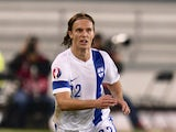 :Finland's Jarkko Hurme during the Euro 2016 Group F qualifying football match Finland vs Greece in Helsinki, Finland on October 11, 2014