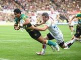Ken Pisi dives through to score the opening try for Saints during the Aviva Premiership match against Sale Sharks on October 11, 2014