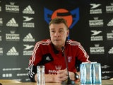 Faroe Island´s headcoach Lars Olsen attends a press conferece ahead of their FIFA World Cup qualifier against Germany on September 9, 2013