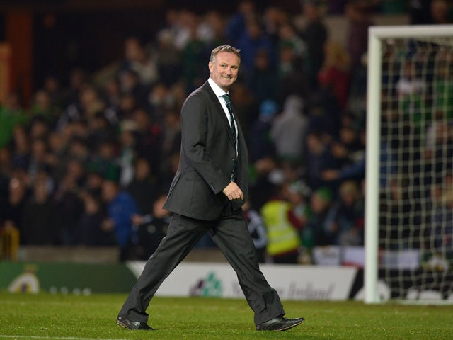 Northern Ireland manager Michael O'Neill after the Euro 2016 Qualifier between Northern Ireland and Faroe Islands at Windsor Park on October 11, 2014