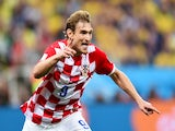 Croatia's forward Nikica Jelavic celebrates after taking a 1-0 lead during a Group A football match between Brazil and Croatia at the Corinthians Arena in Sao Paulo during the 2014 FIFA World Cup on June 12, 2014