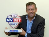 Southend United boss Phil Brown with his Manager of the Month award on October 9, 2014