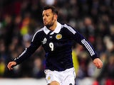 Scotland player Steven Fletcher in action during the International Friendly match between Scotland and Estonia at Pittodrie Stadium on February 6, 2013