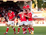 Wes Burns of Bristol City celebrates after scoring the winning goal of the game during the Sky Bet League One match Chesterfield on October 11, 2014