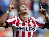 PSV Eindhoven player Adam Maher celebrates 2-0 against Vitesse Arnhem during the league football match in Eindhoven on August 31, 2014