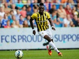 Bertrand Traore of Vitesse in action during the pre season friendly match between Vitesse Arnhem and Chelsea at the Gelredome Stadium on July 30, 2014