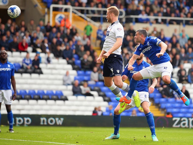 Matt Mills of Bolton Wanderers scores a goal during the Sky Bet Championship match between Birmingham City and Bolton Wanderers at St Andrews (stadium) on October 18, 2014
