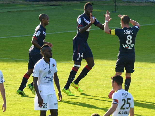 Bordeaux' Malian forward Cheick Diabate celebrates scoring a penalty during the French L1 footbal match between Bordeaux and Caen at the Chaban-Delmas stadium in Bordeaux, southwestern France, on October 19, 2014
