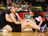 Casey Kopua of the Ferns is assisted by medical staff after sustaining a serious injury during the International Netball Test match between the New Zealand Silver Ferns and the Australian Diamonds at Allphones Arena on October 11, 2014