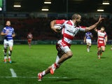 Charlie Sharples of Gloucester celebrates scoring his second try during the European Rugby Challenge Cup Pool 5 match against Brive on October 16, 2014