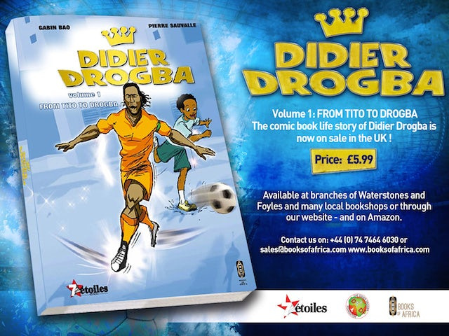 The comic book of Chelsea striker Didier Drogba on October 16, 2014