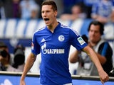 Schalke's midfielder Julian Draxler celebrates after scoring during the German first division Bundesliga football match against Eintracht Frankfurt on September 20, 2014