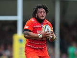 Logovi'i Mulipola of Leicester Tigers in action during the Aviva Premiership match between Exeter Chiefs and Leicester Tigers at Sandy Park on September 13, 2014