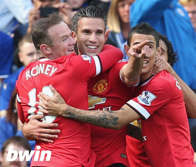 !DO NOT USE FOR STORIES! Manchester United players Wayne Rooney, Robin van Persie and Angel Di Maria celebrate