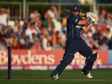 Mark Pettini of Essex Eagles hits the ball towarfds the boundary during the Natwest T20 Blast Quarter Final match between Essex Eagles and Birmingham Bears at Ford County Ground on August 2, 2014
