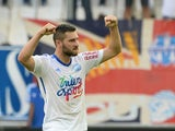 Marseille's French forward Andre-Pierre Gignac celebrates after the second goal during their French L1 football match Olympique de Marseille (OM) versus Toulouse at the Velodrome stadium in Marseille, on October 19, 2014