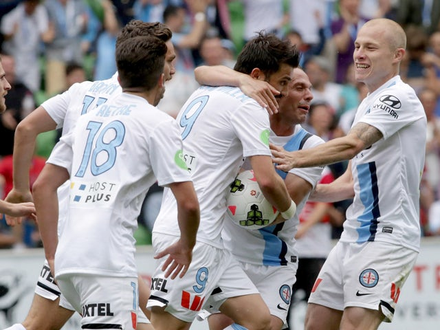 Melbourne players celebrate David Villa kicking a goal in the final minutes during the round two A-League match between Melbourne City and the Newcastle Jets at AAMI Park on October 19, 2014