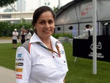 Sauber team principal Monisha Kaltenborn arrives at the Marina Bay Street circuit for the Formula One Singapore Grand Prix on September 18, 2014