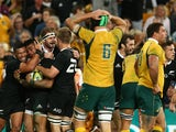 Malakai Fekitoa of the All Blacks celebrates scoring the winning try during The Rugby Championship match between the Australian Wallabies and the New Zealand All Blacks at Suncorp Stadium on October 18, 2014