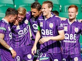 Andy Keogh of the Glory celebrates after scoring a goal during the round two A-League match between the Perth Glory and Brisbane Roar at nib Stadium on October 19, 2014