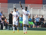 Obiang of Sampdoria celebrates the goal 0-2 during the Serie A match between Cagliari Calcio and UC Sampdoria at Stadio Sant'Elia on October 19, 2014